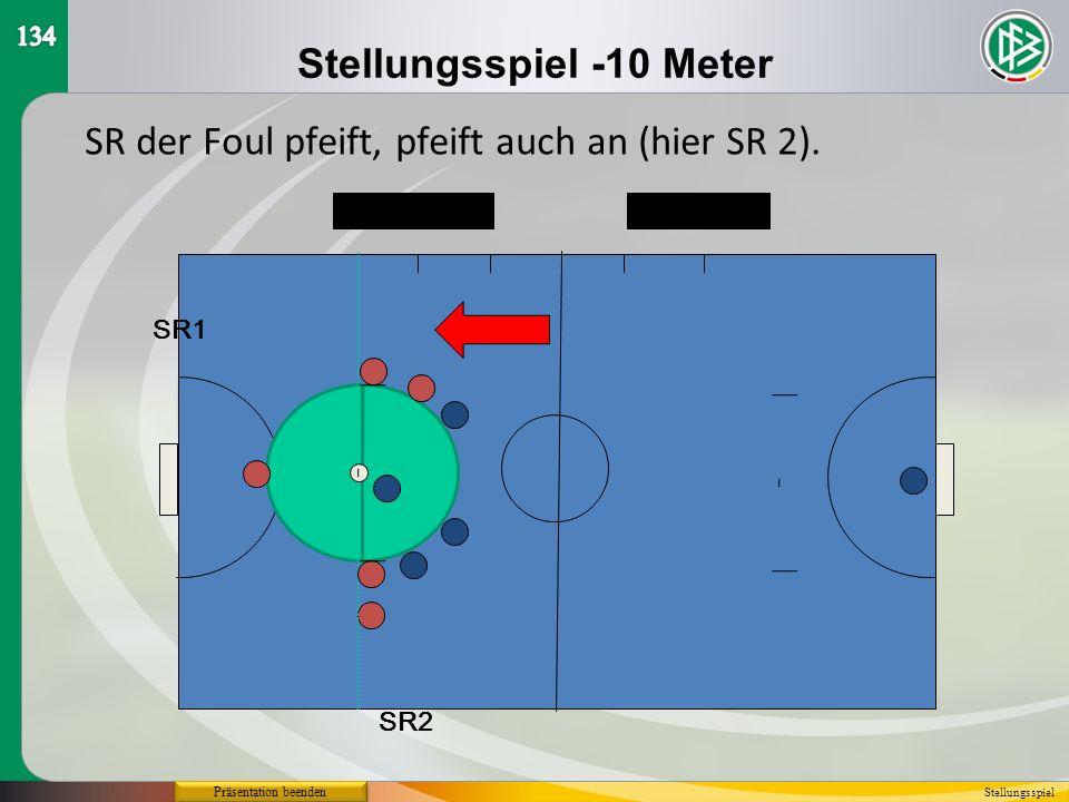 Stellungsspiel -10 Meter SR2 SR1 SR der Foul pfeift, pfeift auch an (hier SR 2). Stellungsspiel Präsentation beenden
