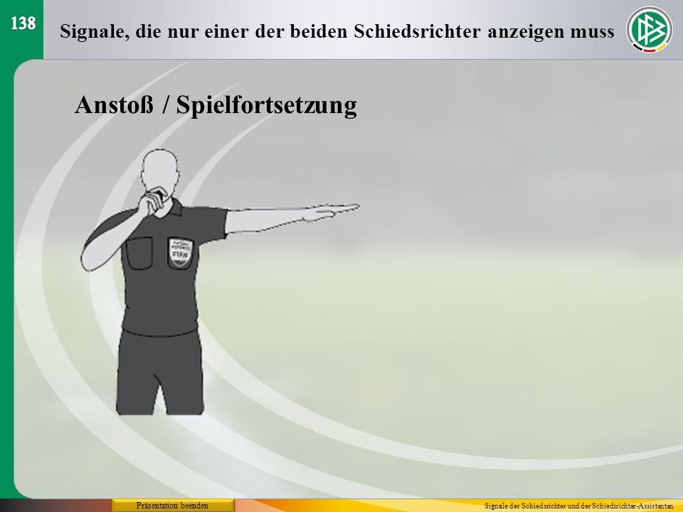Präsentation beenden Anstoß / Spielfortsetzung Signale, die nur einer der beiden Schiedsrichter anzeigen muss Signale der Schiedsrichter und der Schie