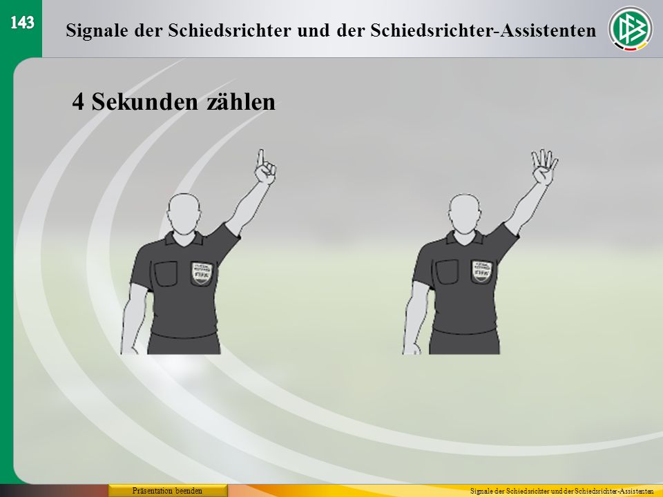 Präsentation beenden 4 Sekunden zählen Signale der Schiedsrichter und der Schiedsrichter-Assistenten