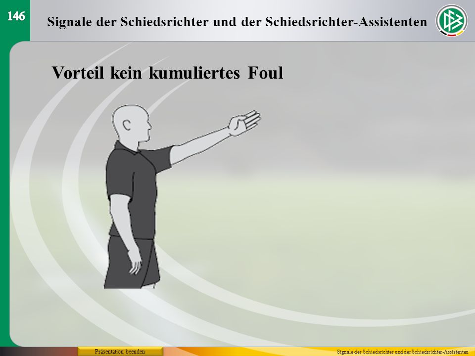 Präsentation beenden Vorteil kein kumuliertes Foul Signale der Schiedsrichter und der Schiedsrichter-Assistenten
