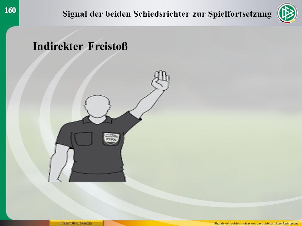 Präsentation beenden Signal der beiden Schiedsrichter zur Spielfortsetzung Signale der Schiedsrichter und der Schiedsrichter-Assistenten Indirekter Fr