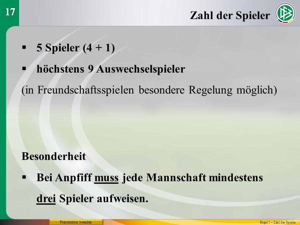 Präsentation beenden Zahl der Spieler 5 Spieler (4 + 1) höchstens 9 Auswechselspieler (in Freundschaftsspielen besondere Regelung möglich) Regel 3 – Z