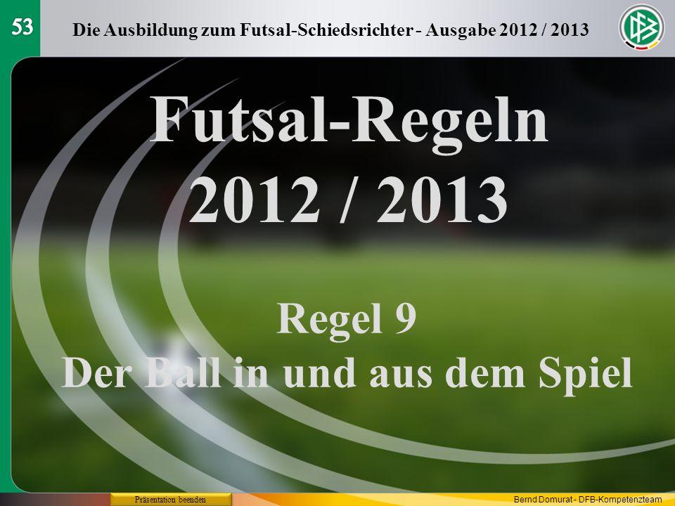 Futsal-Regeln 2012 / 2013 Regel 9 Der Ball in und aus dem Spiel Die Ausbildung zum Futsal-Schiedsrichter - Ausgabe 2012 / 2013 Präsentation beenden Be
