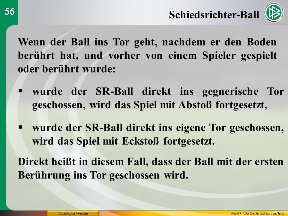 Präsentation beenden Schiedsrichter-Ball Regel 9 - Der Ball in und aus dem Spiel Wenn der Ball ins Tor geht, nachdem er den Boden berührt hat, und vor
