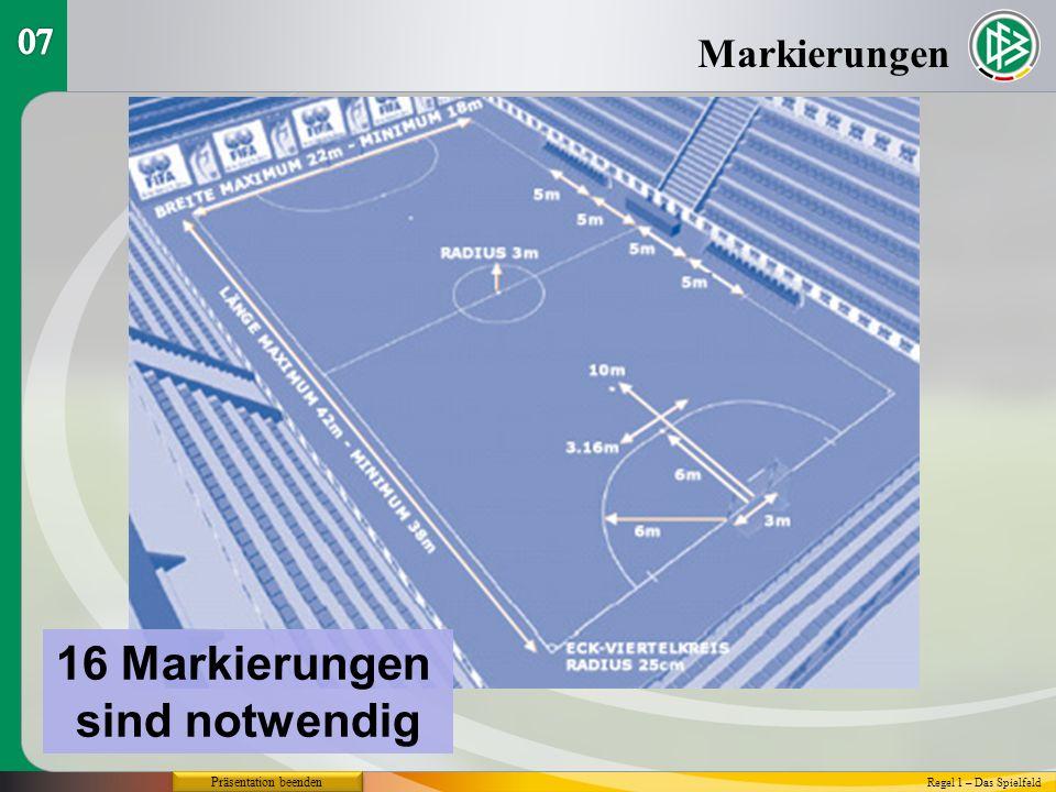 Markierungen Regel 1 – Das Spielfeld Präsentation beenden 16 Markierungen sind notwendig