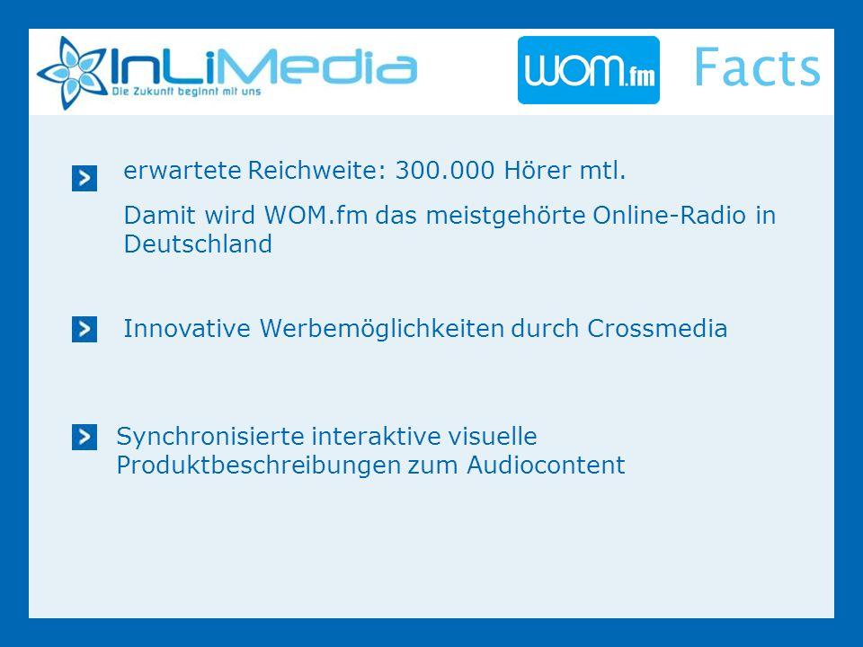 Innovative Werbemöglichkeiten durch Crossmedia Synchronisierte interaktive visuelle Produktbeschreibungen zum Audiocontent erwartete Reichweite: 300.000 Hörer mtl.