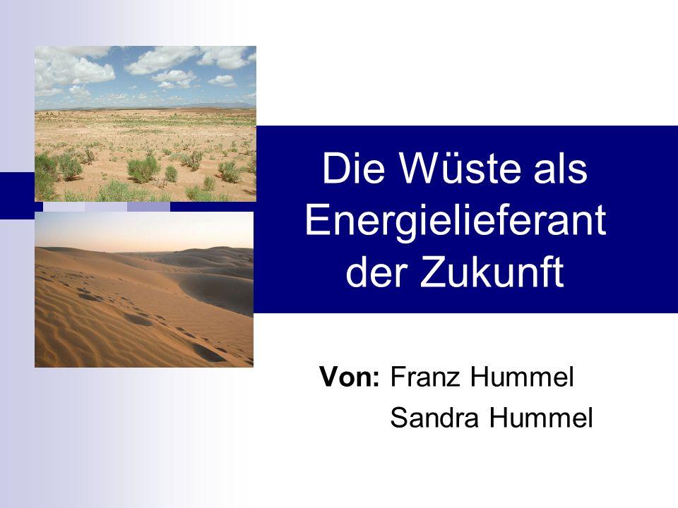 Die Wüste als Energielieferant der Zukunft Von: Franz Hummel Sandra Hummel