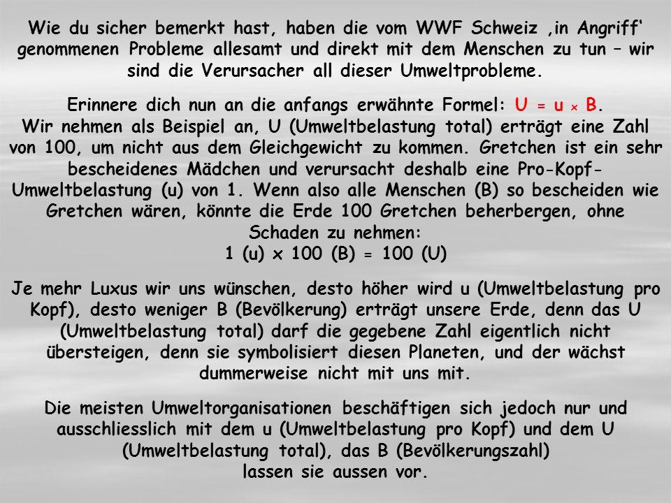 Wie du sicher bemerkt hast, haben die vom WWF Schweiz in Angriff genommenen Probleme allesamt und direkt mit dem Menschen zu tun – wir sind die Verursacher all dieser Umweltprobleme.