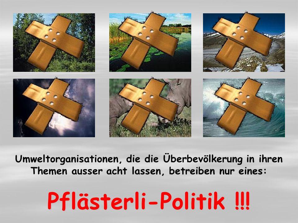 Umweltorganisationen, die die Überbevölkerung in ihren Themen ausser acht lassen, betreiben nur eines: Pflästerli-Politik !!!.