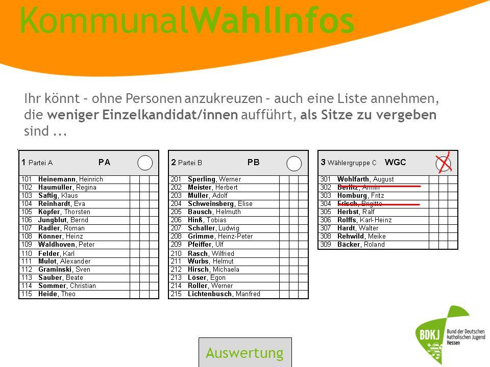 KommunalWahlInfos Ihr könnt – ohne Personen anzukreuzen – auch eine Liste annehmen, die weniger Einzelkandidat/innen aufführt, als Sitze zu vergeben s