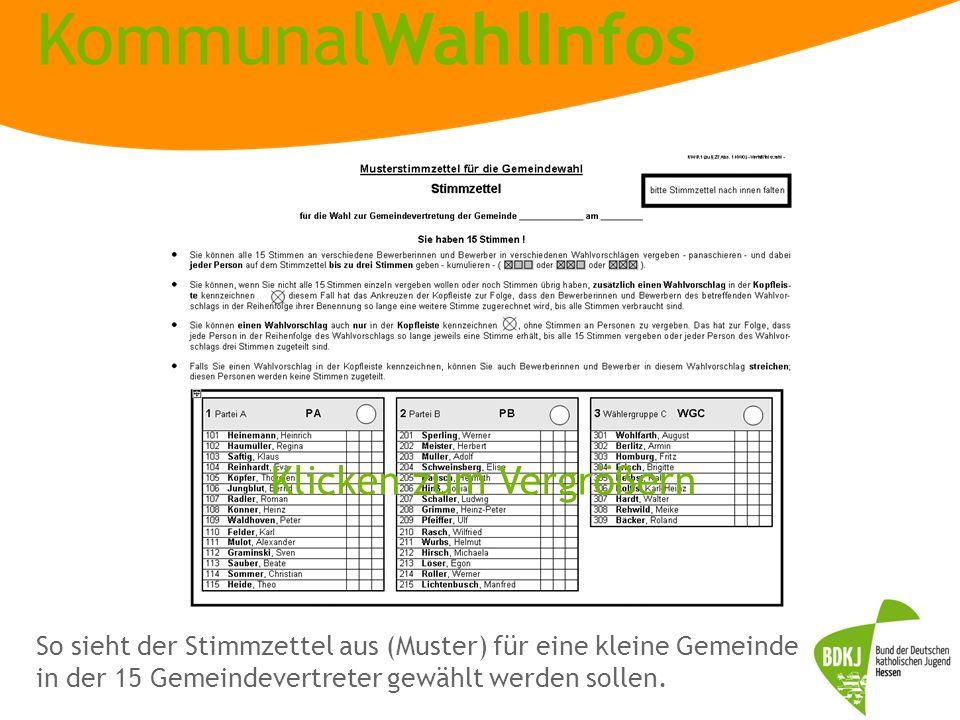 KommunalWahlInfos So sieht der Stimmzettel aus (Muster) für eine kleine Gemeinde in der 15 Gemeindevertreter gewählt werden sollen. Klicken zum Vergrö