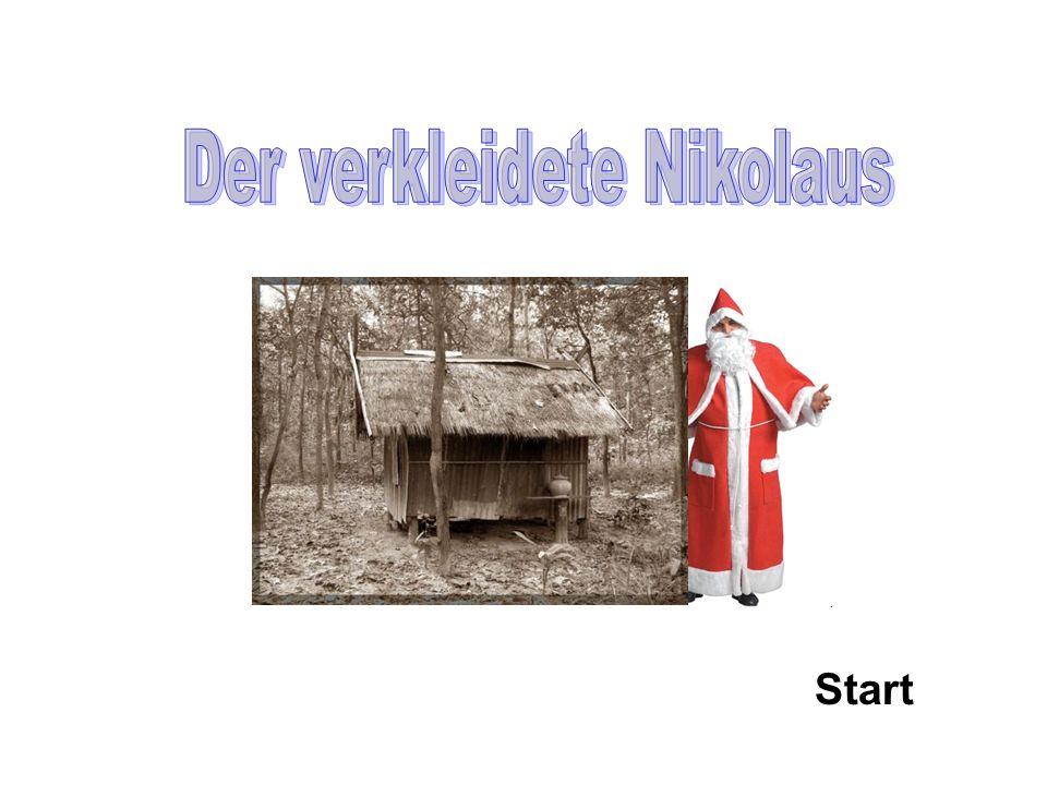 Bei der Kasse sehe ich einen verkleideten Nikolaus.