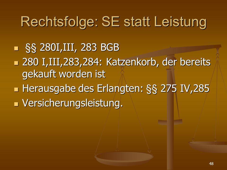 Rechtsfolge: SE statt Leistung §§ 280I,III, 283 BGB §§ 280I,III, 283 BGB 280 I,III,283,284: Katzenkorb, der bereits gekauft worden ist 280 I,III,283,2