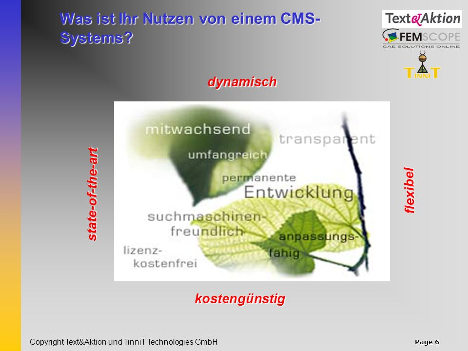 Page 7 Copyright Text&Aktion und TinniT Technologies GmbH Warum TYPO3 als CMS.