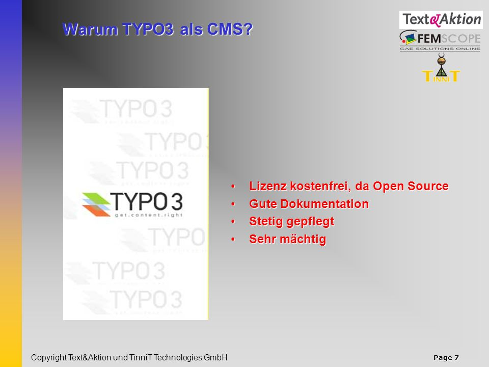 Page 8 Copyright Text&Aktion und TinniT Technologies GmbH Unser Service für Sie.