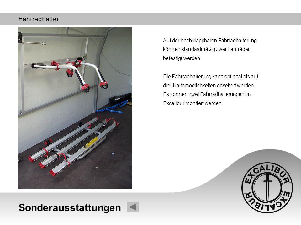 Sonderausstattungen Fahrradhalter Auf der hochklappbaren Fahrradhalterung können standardmäßig zwei Fahrräder befestigt werden. Die Fahrradhalterung k