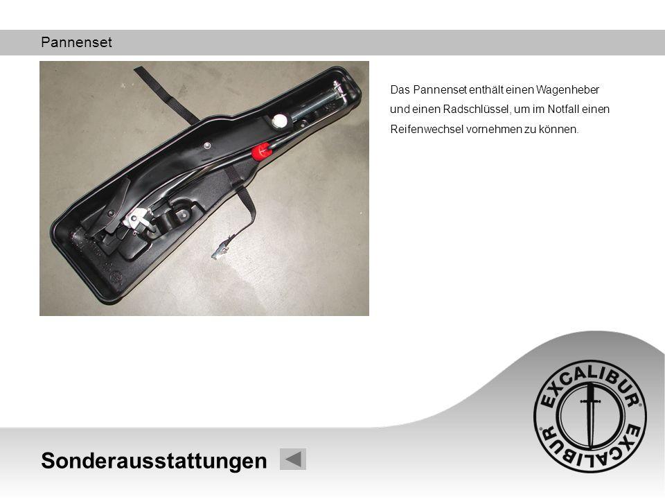 Sonderausstattungen Pannenset Das Pannenset enthält einen Wagenheber und einen Radschlüssel, um im Notfall einen Reifenwechsel vornehmen zu können.
