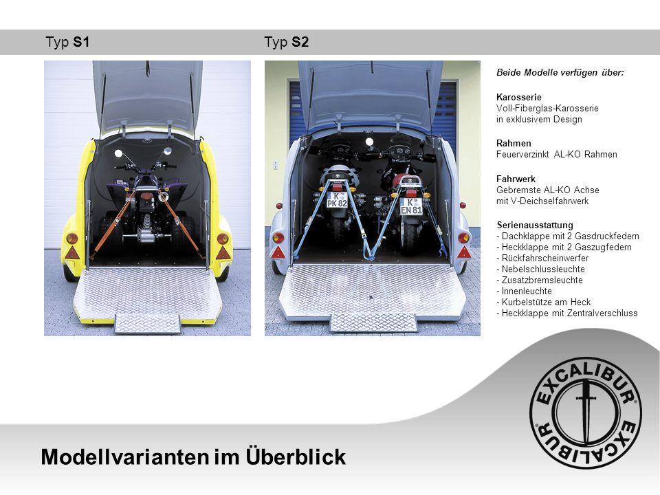 Technische Daten Modellvarianten im Vergleich ModellTyp S1Typ S2 Variante1300 (1500)1500 (1800) Länge gesamt:4780 mm5205 mm Länge Aufbau:3610 mm3970 mm Breite:2080 mm2480 mm Höhe:1970 mm1990 mm Leergewicht:450 (460) kg550 (570) kg Zul.
