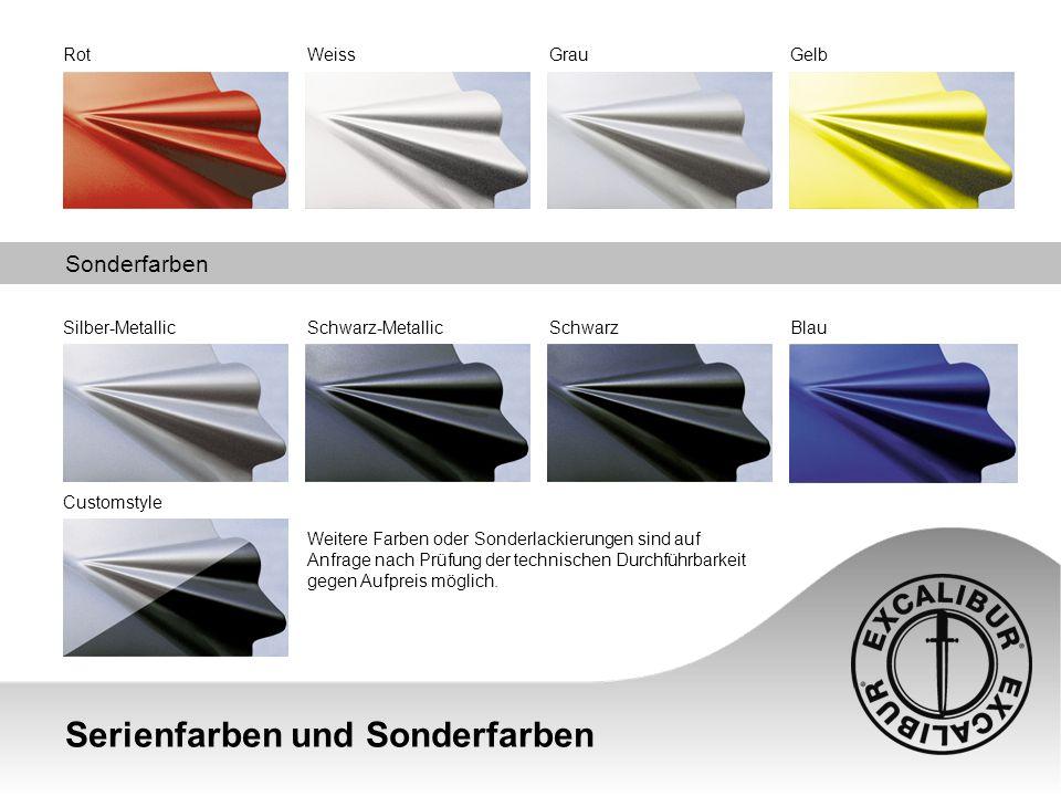 Serienfarben und Sonderfarben Sonderfarben RotWeissGrauGelb Silber-MetallicSchwarz-MetallicSchwarzBlau Weitere Farben oder Sonderlackierungen sind auf