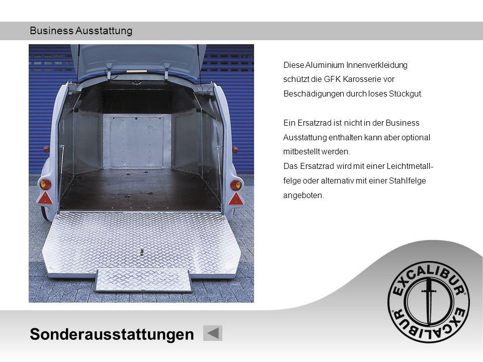 Business Ausstattung Diese Aluminium Innenverkleidung schützt die GFK Karosserie vor Beschädigungen durch loses Stückgut. Ein Ersatzrad ist nicht in d