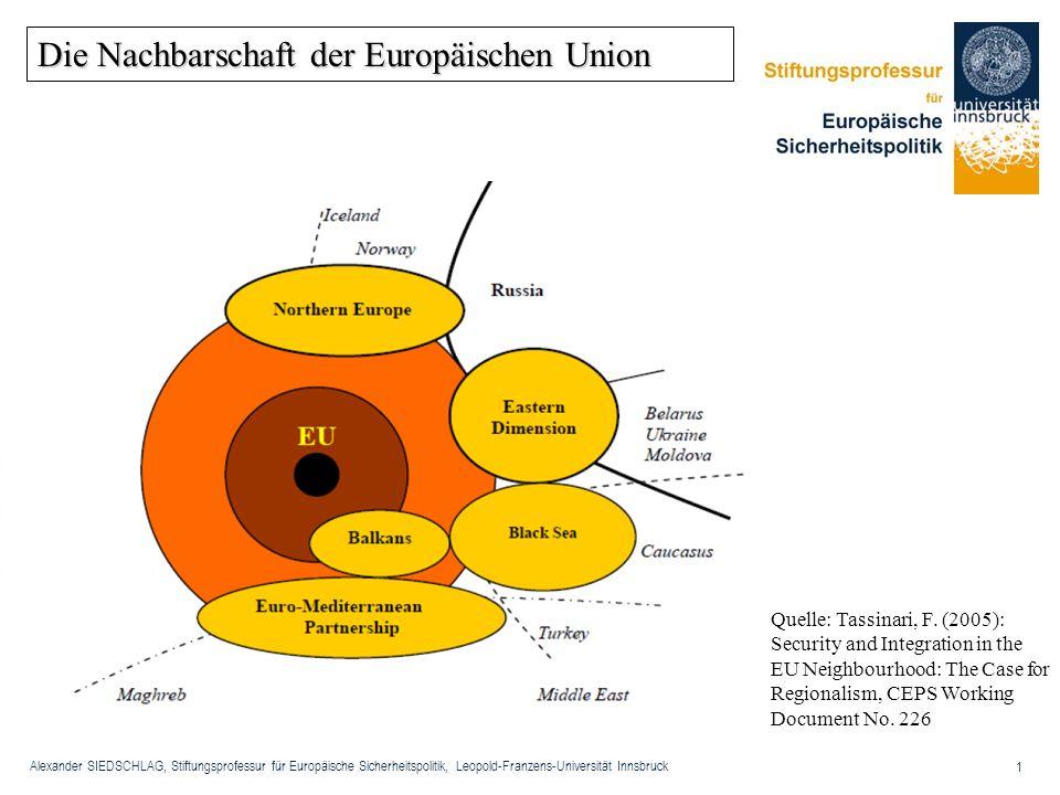 Alexander SIEDSCHLAG, Stiftungsprofessur für Europäische Sicherheitspolitik, Leopold-Franzens-Universität Innsbruck 1 Die Nachbarschaft der Europäisch
