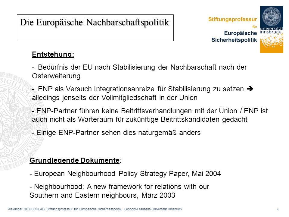 Alexander SIEDSCHLAG, Stiftungsprofessur für Europäische Sicherheitspolitik, Leopold-Franzens-Universität Innsbruck 4 Die Europäische Nachbarschaftspo