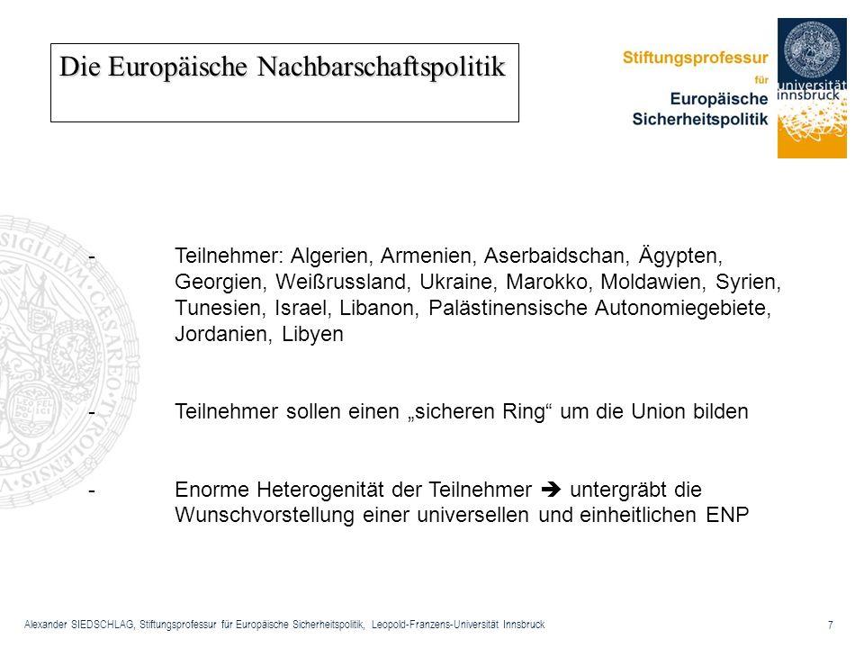 Alexander SIEDSCHLAG, Stiftungsprofessur für Europäische Sicherheitspolitik, Leopold-Franzens-Universität Innsbruck 7 Die Europäische Nachbarschaftspo