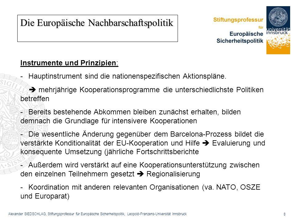 Alexander SIEDSCHLAG, Stiftungsprofessur für Europäische Sicherheitspolitik, Leopold-Franzens-Universität Innsbruck 8 Die Europäische Nachbarschaftspo