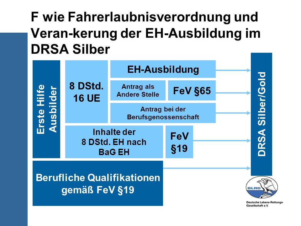 F wie Fahrerlaubnisverordnung und Veran-kerung der EH-Ausbildung im DRSA Silber Erste Hilfe Ausbilder Berufliche Qualifikationen gemäß FeV §19 8 DStd.