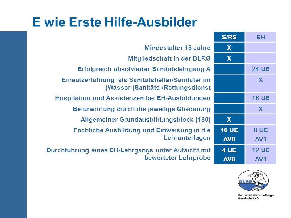 E wie Erste Hilfe-Ausbilder S/RSEH Mindestalter 18 JahreX Mitgliedschaft in der DLRGX Erfolgreich absolvierter Sanitätslehrgang A24 UE Einsatzerfahrun