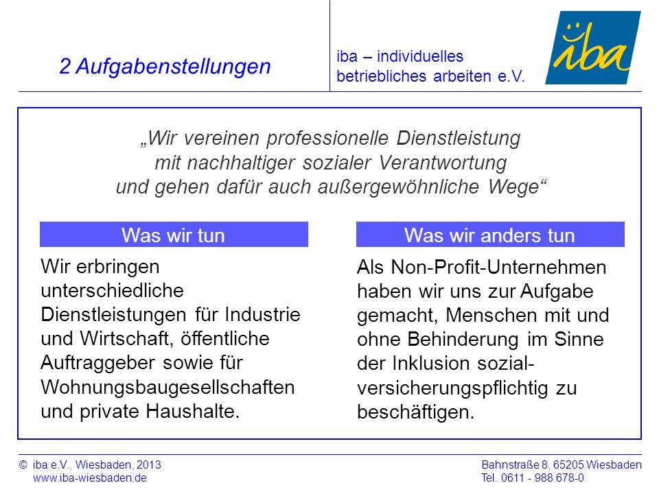 ©iba e.V., Wiesbaden, 2013 www.iba-wiesbaden.de Bahnstraße 8, 65205 Wiesbaden Tel. 0611 - 988 678-0 2 Aufgabenstellungen iba – individuelles betriebli