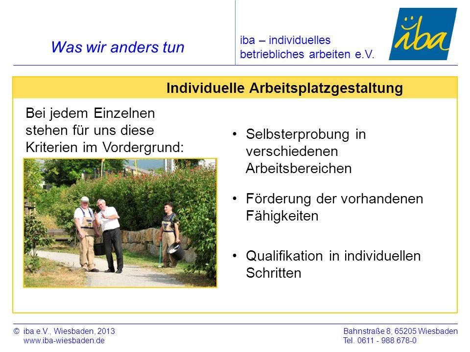 ©iba e.V., Wiesbaden, 2013 www.iba-wiesbaden.de Bahnstraße 8, 65205 Wiesbaden Tel. 0611 - 988 678-0 Was wir anders tun iba – individuelles betrieblich