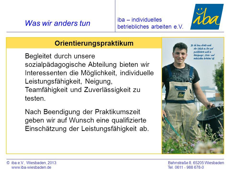 ©iba e.V., Wiesbaden, 2013 www.iba-wiesbaden.de Bahnstraße 8, 65205 Wiesbaden Tel. 0611 - 988 678-0 Was wir anders tun Orientierungspraktikum Begleite