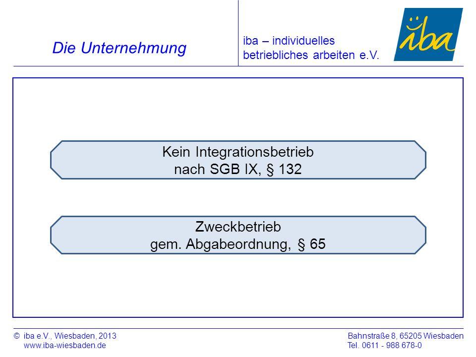 Zweckbetrieb gem. Abgabeordnung, § 65 Kein Integrationsbetrieb nach SGB IX, § 132 ©iba e.V., Wiesbaden, 2013 www.iba-wiesbaden.de Bahnstraße 8, 65205