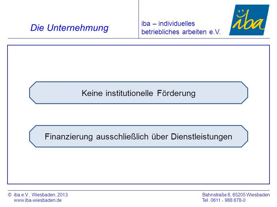 Finanzierung ausschließlich über Dienstleistungen ©iba e.V., Wiesbaden, 2013 www.iba-wiesbaden.de Bahnstraße 8, 65205 Wiesbaden Tel. 0611 - 988 678-0