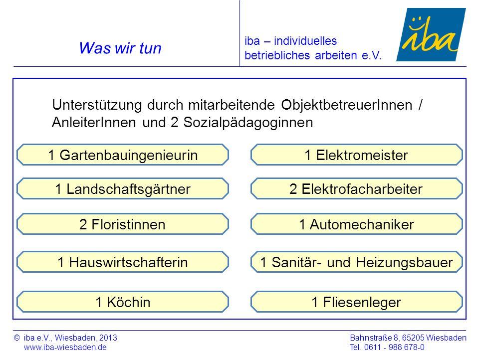 1 Sanitär- und Heizungsbauer ©iba e.V., Wiesbaden, 2013 www.iba-wiesbaden.de Bahnstraße 8, 65205 Wiesbaden Tel. 0611 - 988 678-0 Was wir tun iba – ind