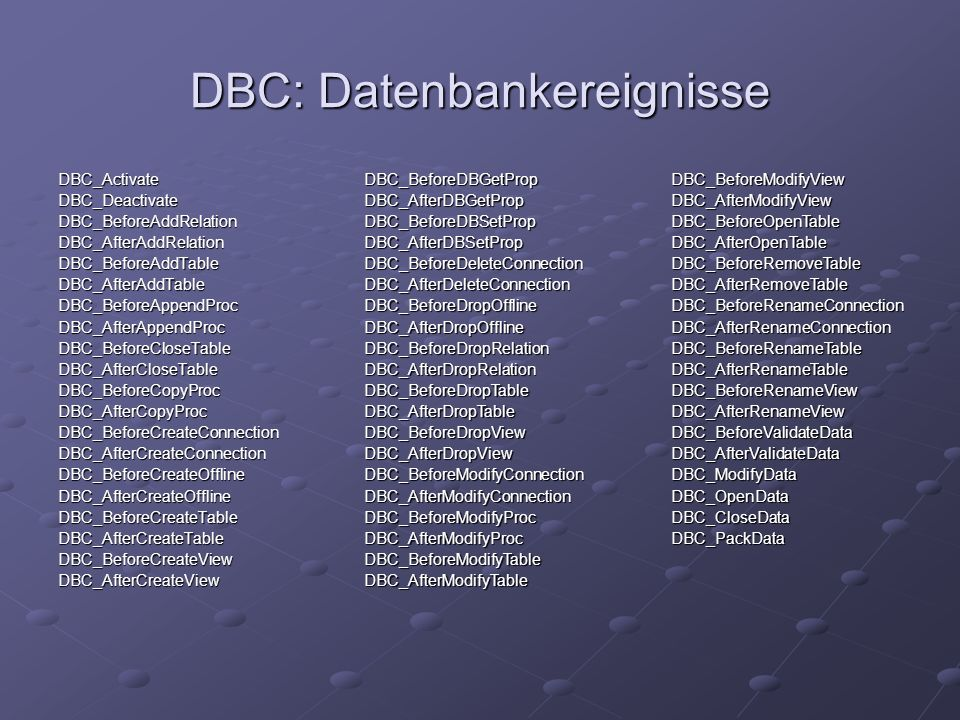 DBC: Datenbankereignisse DBC_ActivateDBC_DeactivateDBC_BeforeAddRelationDBC_AfterAddRelationDBC_BeforeAddTableDBC_AfterAddTableDBC_BeforeAppendProcDBC_AfterAppendProcDBC_BeforeCloseTableDBC_AfterCloseTableDBC_BeforeCopyProcDBC_AfterCopyProcDBC_BeforeCreateConnectionDBC_AfterCreateConnectionDBC_BeforeCreateOfflineDBC_AfterCreateOfflineDBC_BeforeCreateTableDBC_AfterCreateTableDBC_BeforeCreateViewDBC_AfterCreateViewDBC_BeforeDBGetPropDBC_AfterDBGetPropDBC_BeforeDBSetPropDBC_AfterDBSetPropDBC_BeforeDeleteConnectionDBC_AfterDeleteConnectionDBC_BeforeDropOfflineDBC_AfterDropOfflineDBC_BeforeDropRelationDBC_AfterDropRelationDBC_BeforeDropTableDBC_AfterDropTableDBC_BeforeDropViewDBC_AfterDropViewDBC_BeforeModifyConnectionDBC_AfterModifyConnectionDBC_BeforeModifyProcDBC_AfterModifyProcDBC_BeforeModifyTableDBC_AfterModifyTableDBC_BeforeModifyViewDBC_AfterModifyViewDBC_BeforeOpenTableDBC_AfterOpenTableDBC_BeforeRemoveTableDBC_AfterRemoveTableDBC_BeforeRenameConnectionDBC_AfterRenameConnectionDBC_BeforeRenameTableDBC_AfterRenameTableDBC_BeforeRenameViewDBC_AfterRenameViewDBC_BeforeValidateDataDBC_AfterValidateDataDBC_ModifyDataDBC_OpenDataDBC_CloseDataDBC_PackData