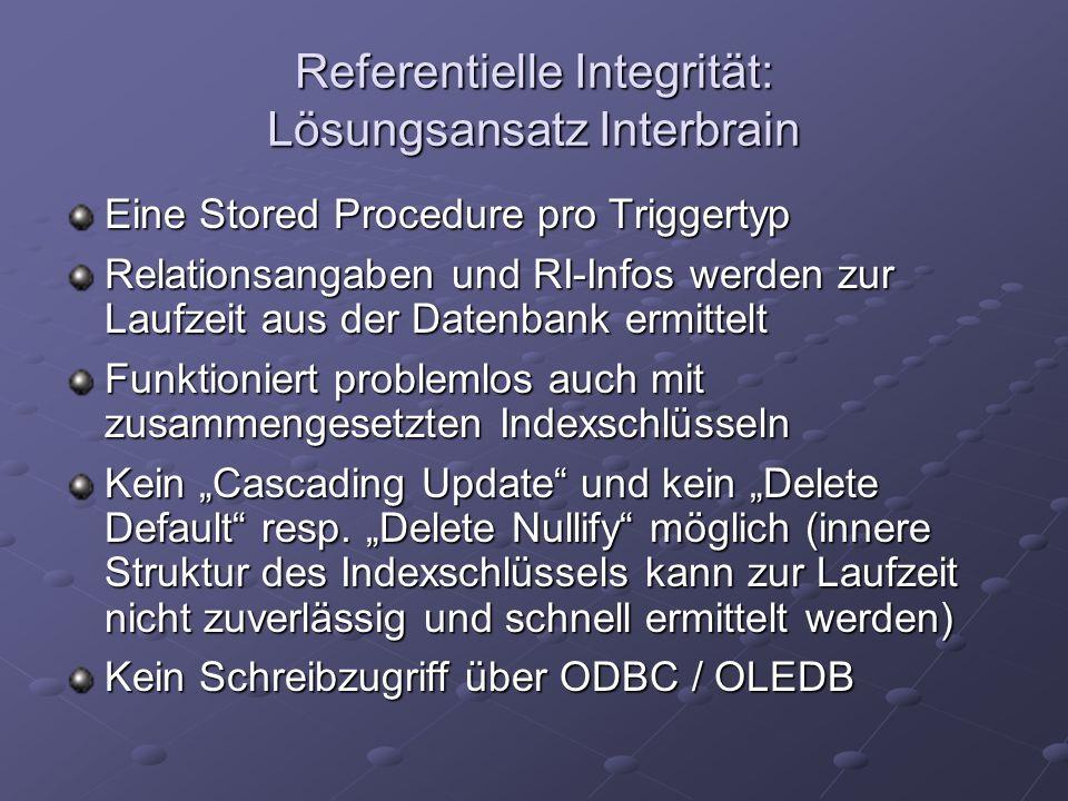 Referentielle Integrität: Lösungsansatz Interbrain Eine Stored Procedure pro Triggertyp Relationsangaben und RI-Infos werden zur Laufzeit aus der Date