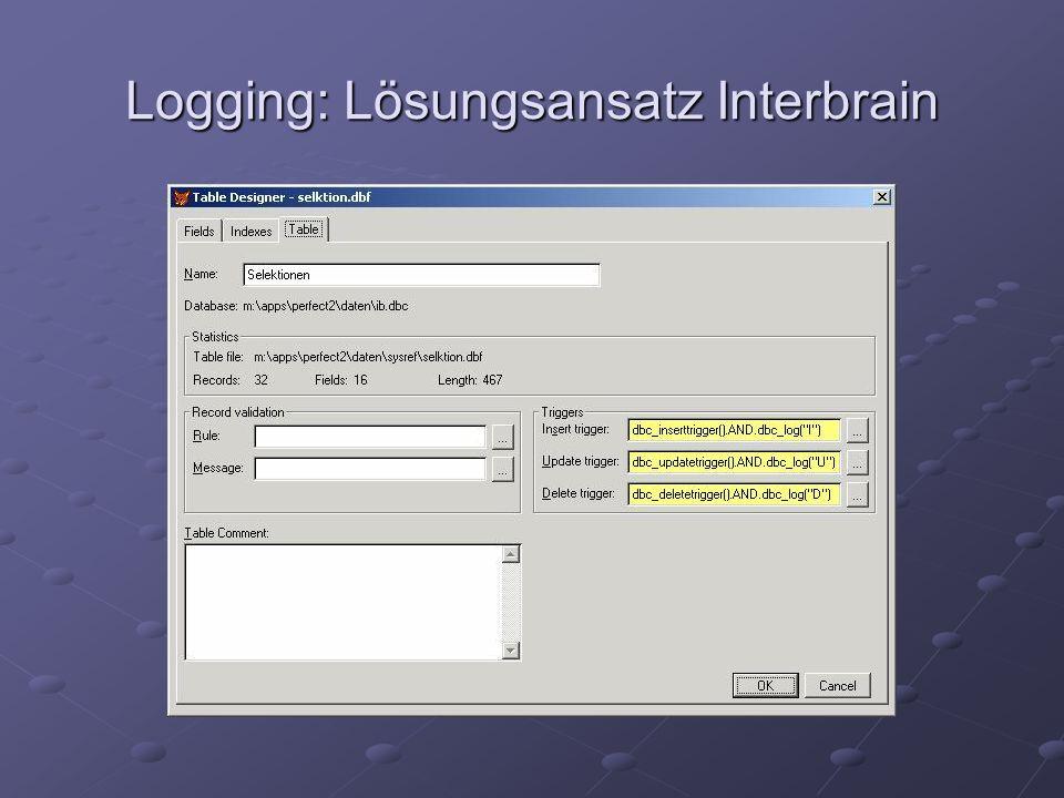 Logging: Lösungsansatz Interbrain