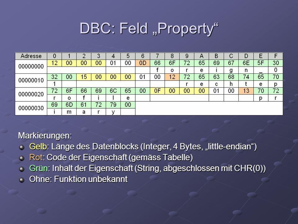 Markierungen: Gelb: Länge des Datenblocks (Integer, 4 Bytes, little-endian) Rot: Code der Eigenschaft (gemäss Tabelle) Grün: Inhalt der Eigenschaft (String, abgeschlossen mit CHR(0)) Ohne: Funktion unbekannt