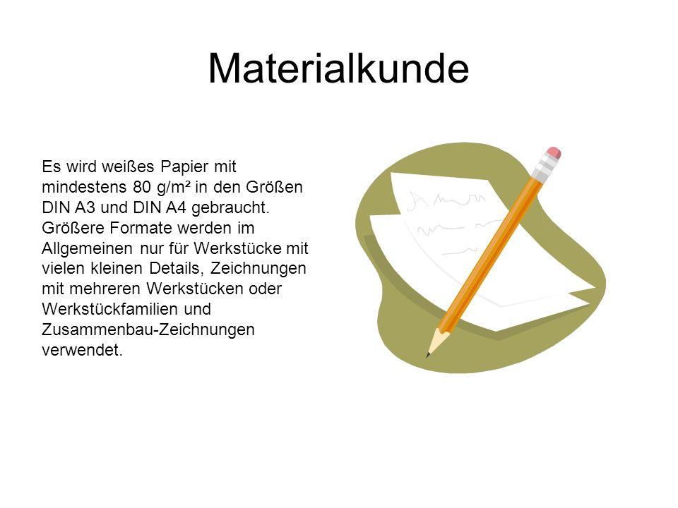 Materialkunde Es wird weißes Papier mit mindestens 80 g/m² in den Größen DIN A3 und DIN A4 gebraucht. Größere Formate werden im Allgemeinen nur für We