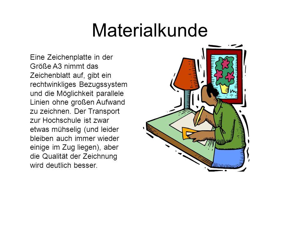 Materialkunde Eine Zeichenplatte in der Größe A3 nimmt das Zeichenblatt auf, gibt ein rechtwinkliges Bezugssystem und die Möglichkeit parallele Linien