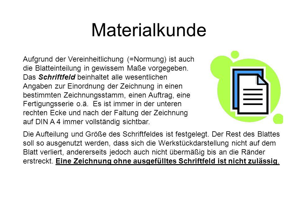 Materialkunde Aufgrund der Vereinheitlichung (=Normung) ist auch die Blatteinteilung in gewissem Maße vorgegeben. Das Schriftfeld beinhaltet alle wese