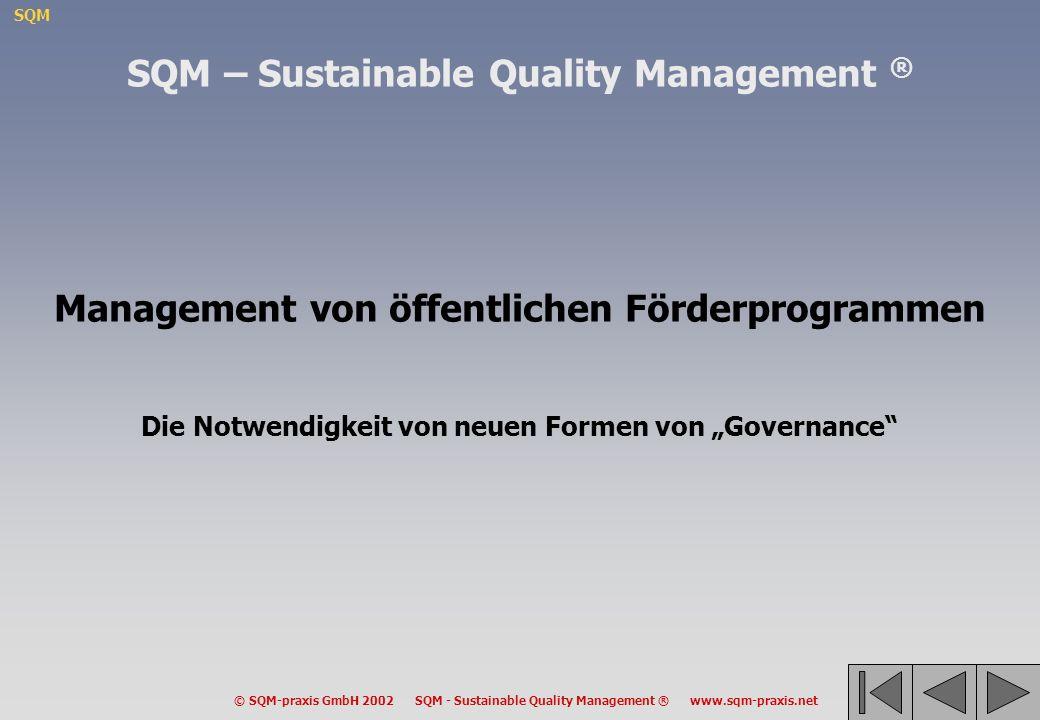 SQM © SQM-praxis GmbH 2002 SQM - Sustainable Quality Management ® www.sqm-praxis.net Management von öffentlichen Förderprogrammen Die Notwendigkeit vo