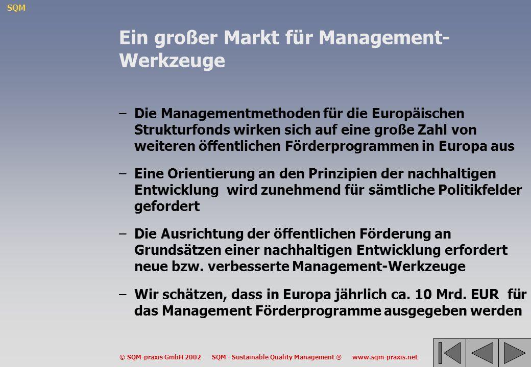 SQM © SQM-praxis GmbH 2002 SQM - Sustainable Quality Management ® www.sqm-praxis.net Ein großer Markt für Management- Werkzeuge –Die Managementmethode