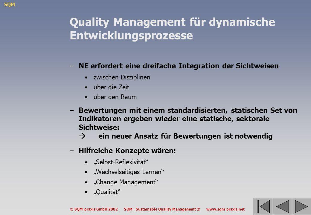 SQM © SQM-praxis GmbH 2002 SQM - Sustainable Quality Management ® www.sqm-praxis.net Quality Management für dynamische Entwicklungsprozesse –NE erford