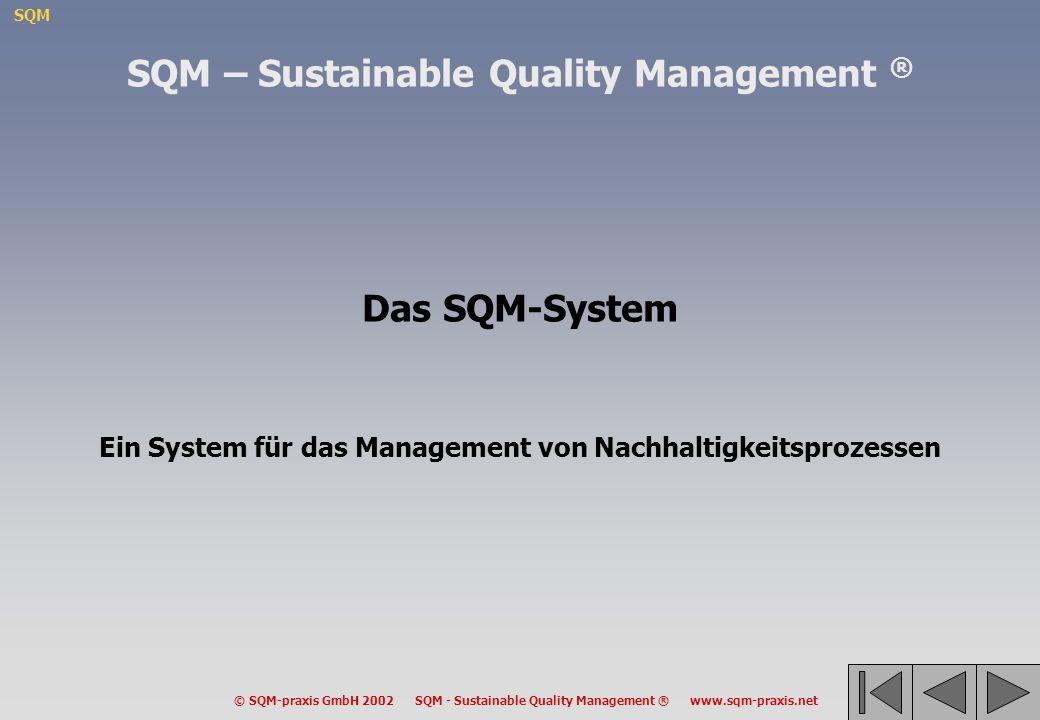 SQM © SQM-praxis GmbH 2002 SQM - Sustainable Quality Management ® www.sqm-praxis.net Das SQM-System Ein System für das Management von Nachhaltigkeitsp