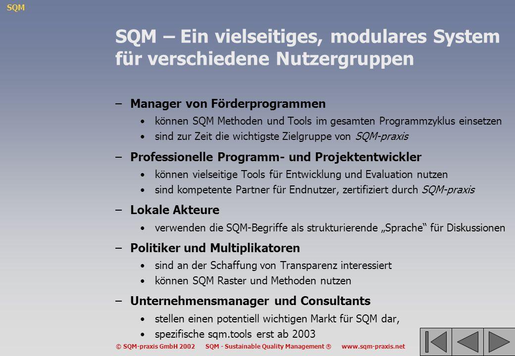 SQM © SQM-praxis GmbH 2002 SQM - Sustainable Quality Management ® www.sqm-praxis.net SQM – Ein vielseitiges, modulares System für verschiedene Nutzerg