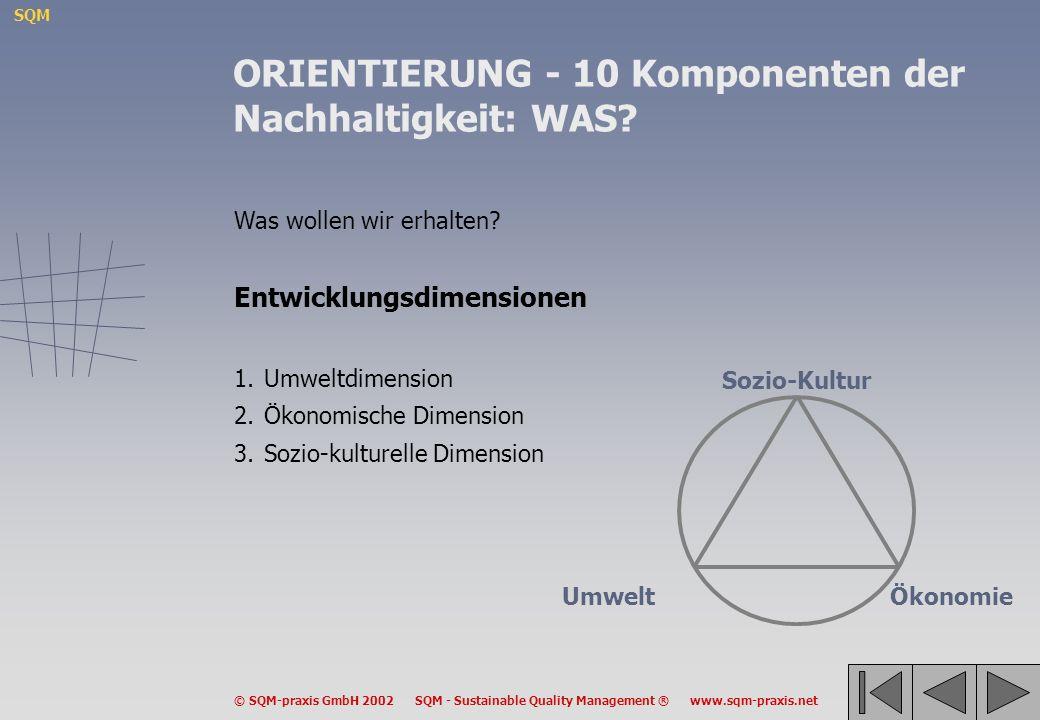 SQM © SQM-praxis GmbH 2002 SQM - Sustainable Quality Management ® www.sqm-praxis.net Was wollen wir erhalten? Entwicklungsdimensionen 1.Umweltdimensio