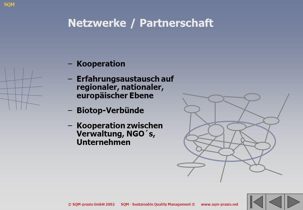 SQM © SQM-praxis GmbH 2002 SQM - Sustainable Quality Management ® www.sqm-praxis.net Netzwerke / Partnerschaft –Kooperation –Erfahrungsaustausch auf r